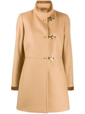 Шерстяное пальто - коричневое Fay