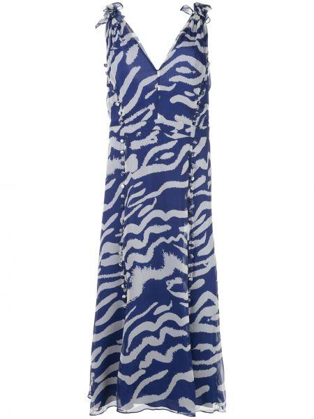 Шелковое платье - синее Prabal Gurung
