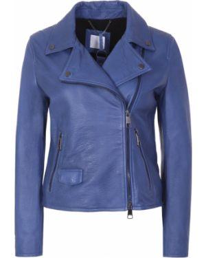 Кожаная куртка на молнии - голубая Hugo Boss