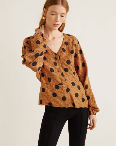 Блузка с V-образным вырезом прямая Mango