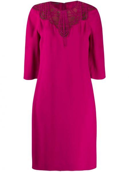 Фиолетовое платье миди с вышивкой сетчатое с вырезом Alberta Ferretti