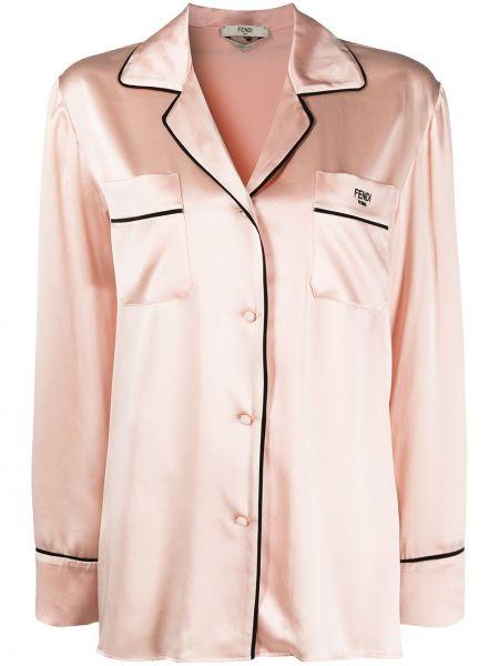 Розовая шелковая пижама с карманами Fendi