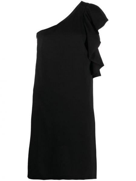 Черное платье на одно плечо с оборками Lautre Chose