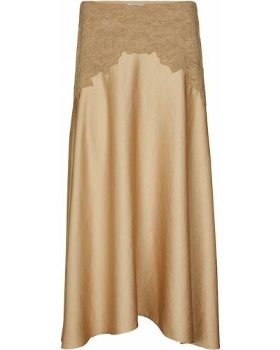 Сатиновая юбка миди - бежевая Vince.