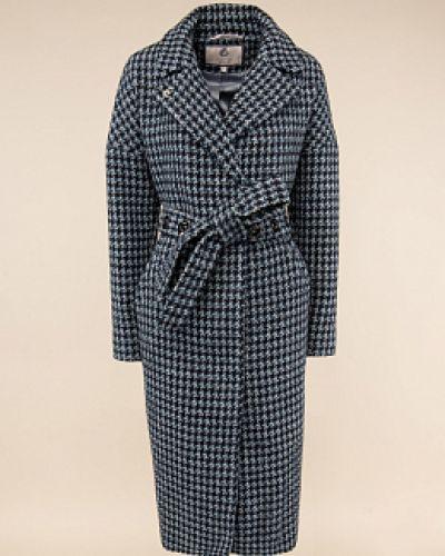 Серое шерстяное пальто с воротником Electrastyle