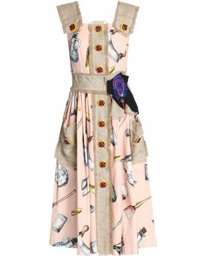 Льняное розовое платье миди с подкладкой Dolce & Gabbana