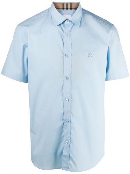 Klasyczny niebieski klasyczna koszula z haftem rozciągać Burberry