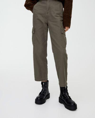 Зеленые прямые брюки Pull & Bear