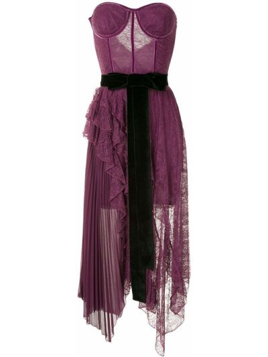 Фиолетовое бархатное платье макси с оборками без рукавов Alice+olivia