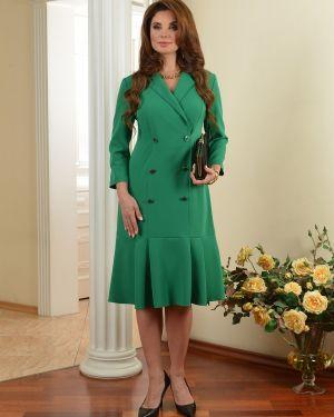 Классическое платье миди двубортное на молнии с оборками Salvi-s