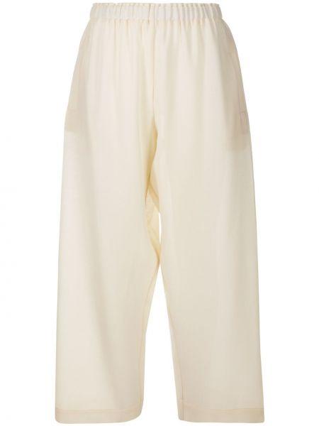 Белые шерстяные укороченные брюки с поясом свободного кроя Daniela Gregis