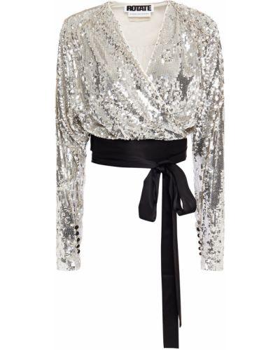 Серебряная сатиновая блузка с пайетками Rotate Birger Christensen