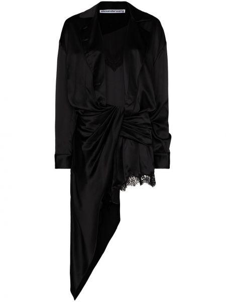 Czarny bawełna bawełna sukienka mini Alexander Wang