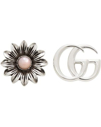 Kolczyki sztyfty srebrne - różowe Gucci