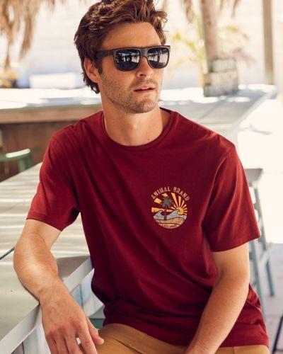 T-shirt z printem - bordowa Mountain Warehouse