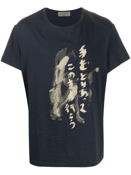Koszula krótkie z krótkim rękawem z nadrukiem niebieski Yohji Yamamoto