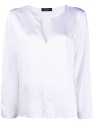 Белая блузка с длинными рукавами с V-образным вырезом Piazza Sempione