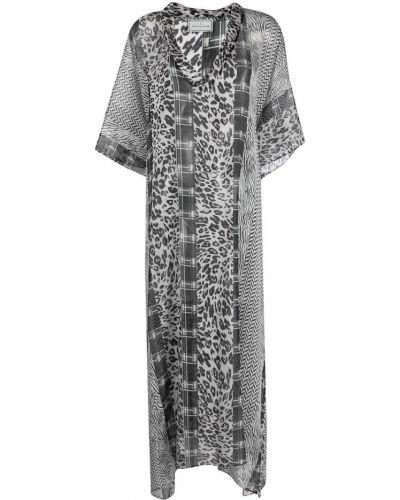 Шелковое серое платье мини с короткими рукавами Pierre-louis Mascia