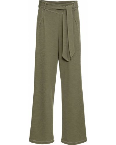 Свободные брюки с поясом оливковый Bonprix