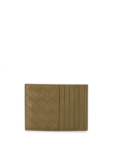 Кожаный кошелек зеленый золотой Bottega Veneta