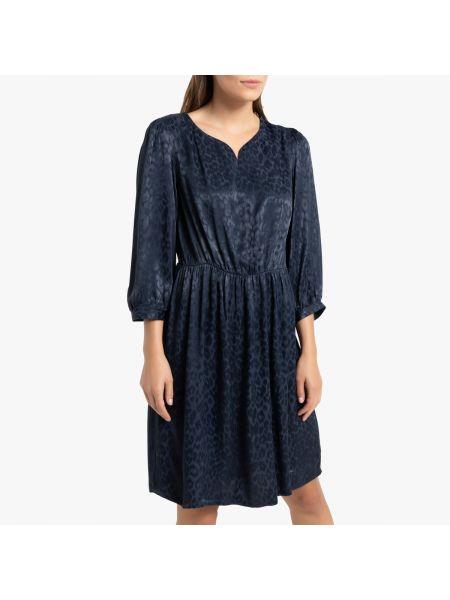 Платье с поясом леопардовое с V-образным вырезом La Redoute