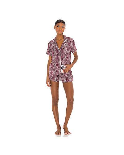 Пижамный шелковый купальник на пуговицах с поясом Splendid