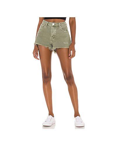 Хлопковые зеленые джинсовые шорты с карманами One Teaspoon