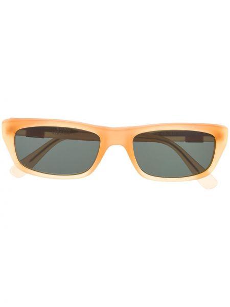 Солнцезащитные очки прямоугольные металлические хаки Versace Pre-owned
