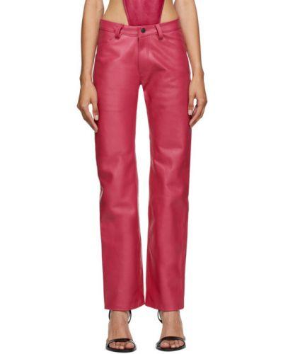 Розовый кожаный брючный брючный костюм Mowalola
