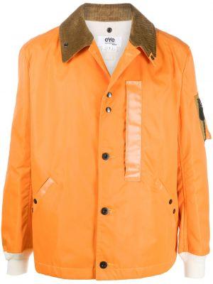 Оранжевая прямая нейлоновая длинная куртка с карманами Junya Watanabe Man