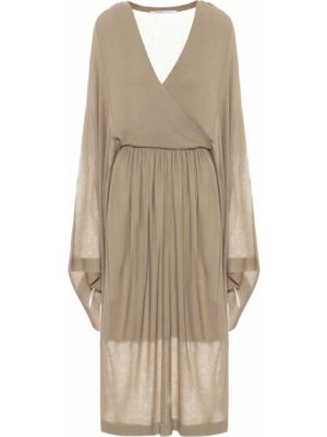Повседневное бежевое вязаное вечернее платье из вискозы Agnona