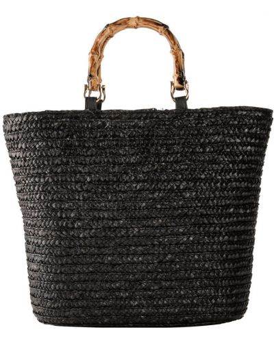 Черная соломенная сумка шоппер Bonprix