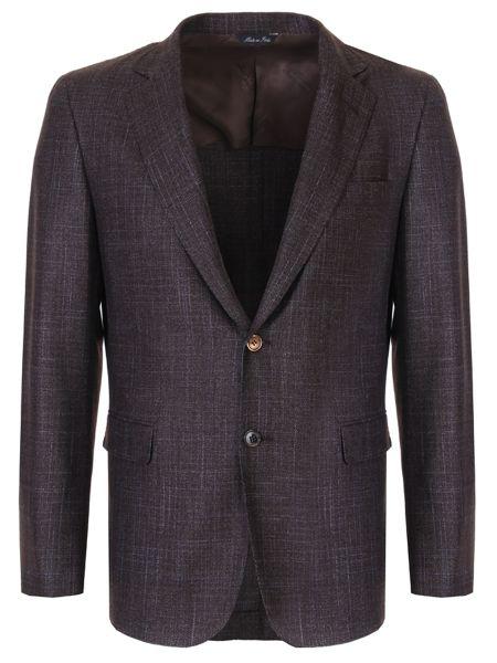 Шерстяной коричневый классический пиджак с лацканами с воротником Castangia