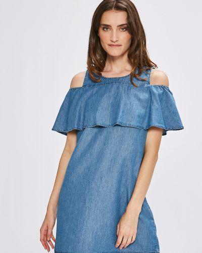 Платье мини с оборками джинсовое Vila
