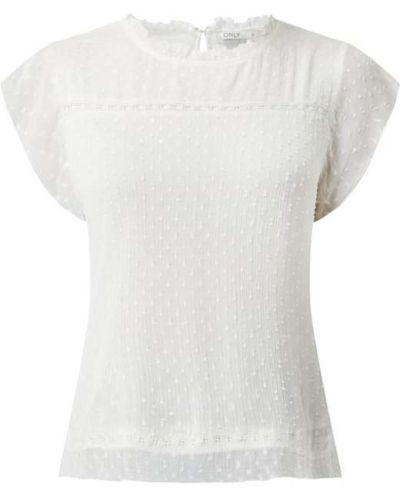 Biała bluzka z falbanami z wiskozy Only