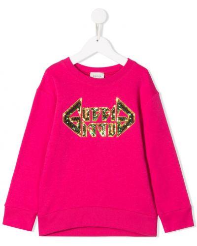 Толстовка с пайетками розовый Gucci Kids