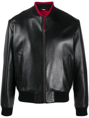 Czarny wełniany z rękawami długa kurtka z kieszeniami Gucci