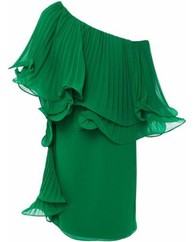Плиссированное зеленое платье мини на крючках Badgley Mischka