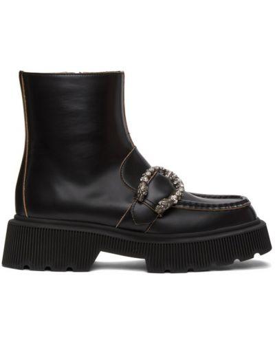 Czarne kozaki na platformie skorzane Gucci