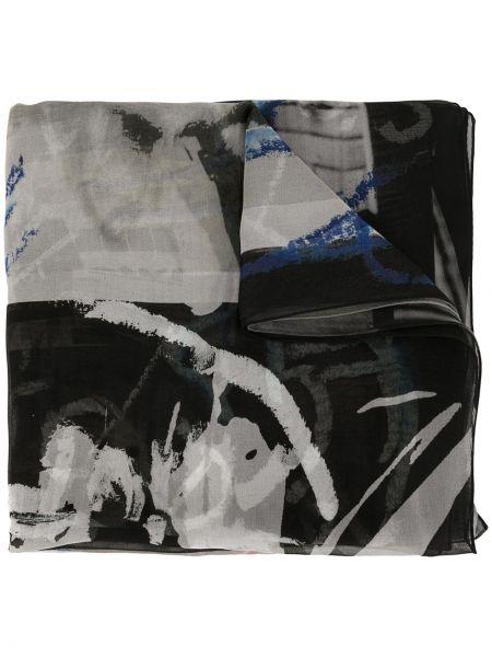 Облегченная шелковый черный шарф прямоугольный Discord Yohji Yamamoto