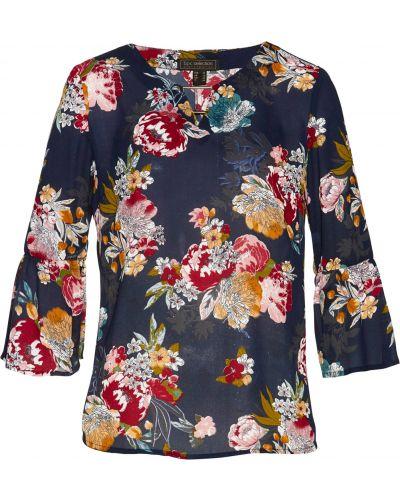 Блузка с длинным рукавом с рюшами с цветочным принтом Bonprix