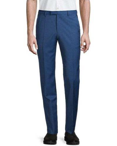 Niebieskie spodnie klasyczne wełniane z paskiem Hugo Hugo Boss