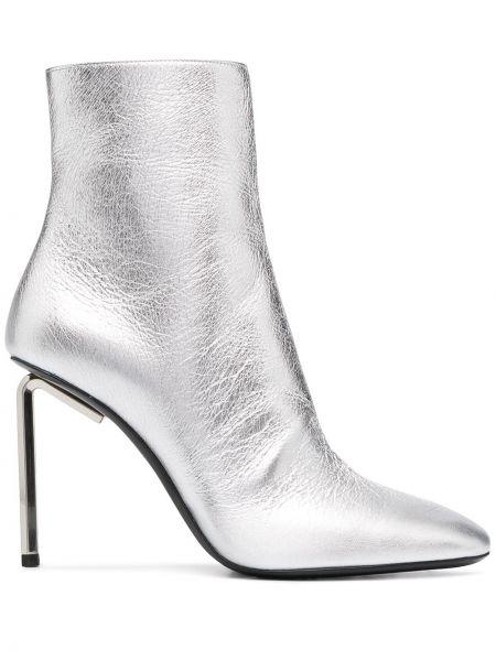 Biały buty obcasy na pięcie z prawdziwej skóry kwadratowy Off-white