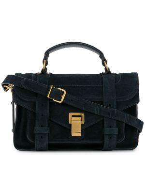 Замшевая синяя кожаная сумка с перфорацией с опушкой Proenza Schouler