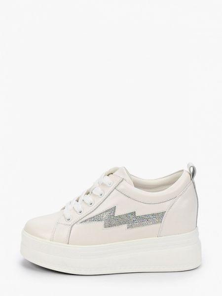 Белые кроссовки из натуральной кожи Berkonty