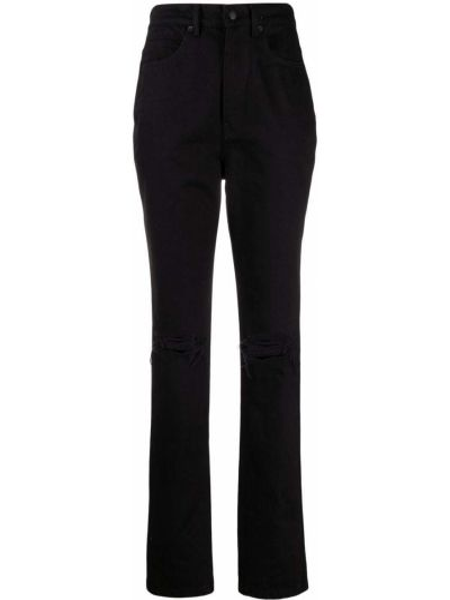 Czarne spodnie rurki bawełniane Alexander Wang