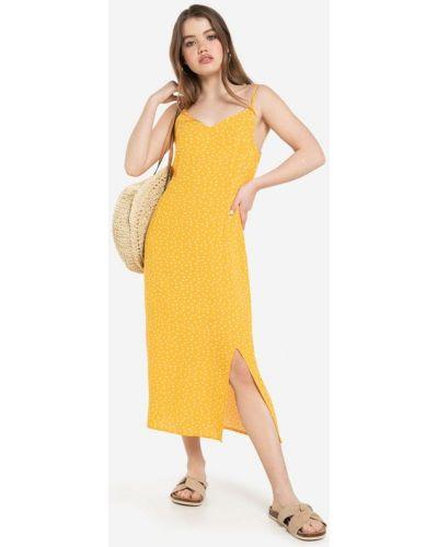Платье миди в горошек - желтое Gloria Jeans