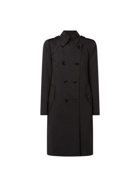 Czarny płaszcz bawełniany zapinane na guziki Drykorn