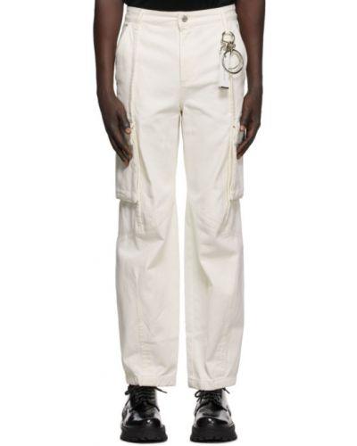 Белые брюки карго свободного кроя стрейч с заплатками Wooyoungmi
