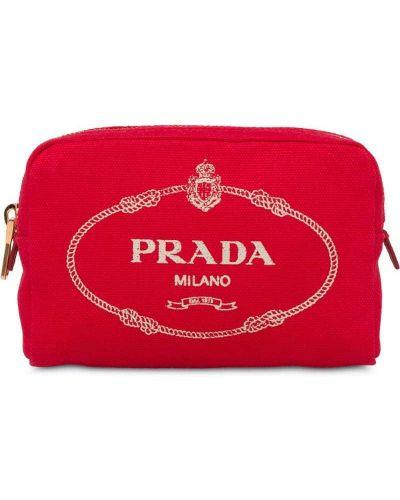 Косметичка на молнии красный Prada